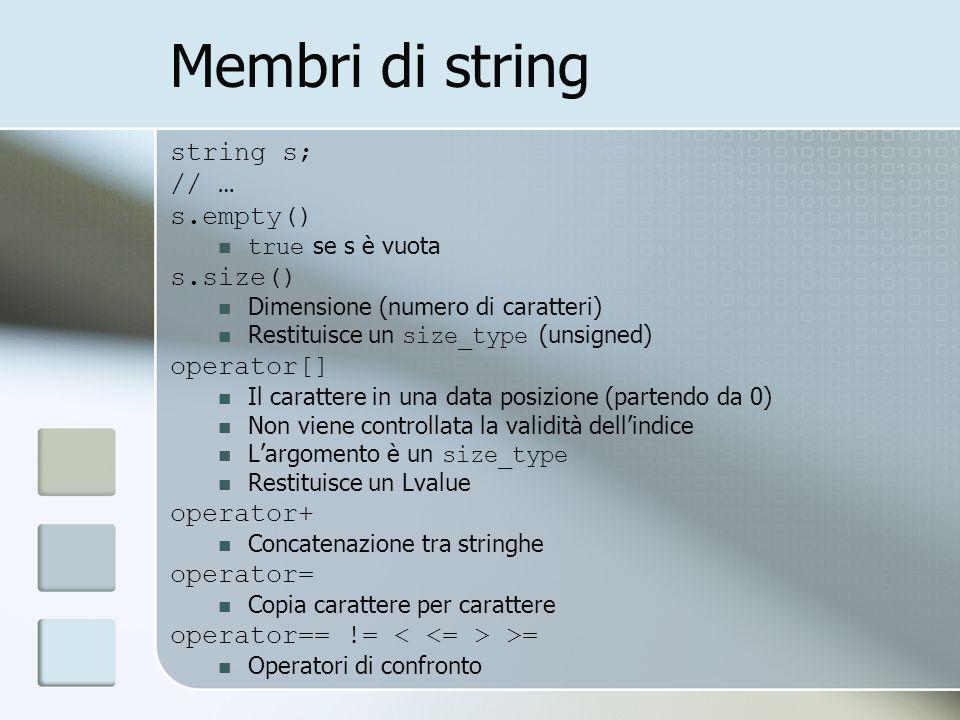 Membri di string string s; // … s.empty() s.size() operator[]